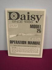 "Daisy Model 25 Pump Action RIfle ""Operations Manual"""