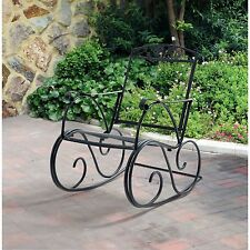 Outdoor Rocking Chair Wrought Iron Porch Patio Seat Deck Rocker Garden Furniture