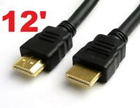 12' FT HDMI 1.4 CABLE HD TV 24K GOLD 1080P BLUE-RAY PS3 + ETHERNET 3D HD TV XBOX