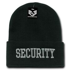 Black Security Guard Officer Embroidered Cuff Long Beanie Skull Knit Cap Hat