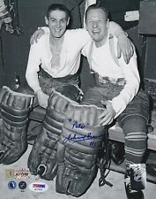 JOHNNY BOWER w/Terry Sawchuk Signed Autograph 8x10 Photo Picture Toronto PSA
