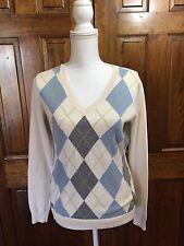 Izod Womens Sweater V Neck 100% Cotton Long Sleeved Argyle Size Medium