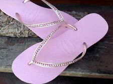 Havaianas Slim Flip Flops Blush Pink Rose w/ Swarovski Crystal Wedding Shoes