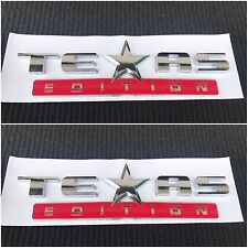 2X NEW TEXAS EDITION RED & CHROME LOGO FORD F-150 F-250 F-350 FENDER I TAILGATE
