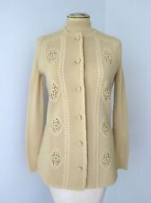 Vtg 60s Mod Camel Brown Wool Knit Turtleneck Sweater Cardigan Vest Twinset 10
