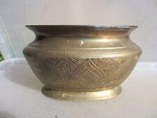 Vintage Heavy Brass Planter Plant Pot Tub Oval etched Urn Vase Antique