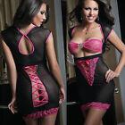 Sexy Lingerie Dress Womens Underwear Pink Lace Black Sheer Sleepwear+G-string
