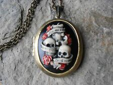 SKULL AND ROSES, SEE, HEAR, SPEAK NO EVIL, HAND PAINTED, CAMEO LOCKET