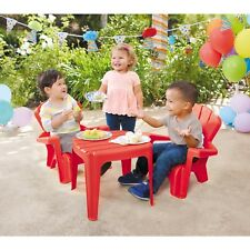 Kids Play Set Adirondack Chair Table Baby Child Patio Yard Furniture  Plastic Red