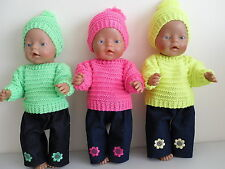 BABY BORN  DOLLS CLOTHES HOT PINK/BRIGHT GREEN OR YELLOW HAND KNITTED OUTFIT SET
