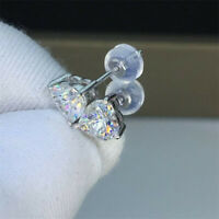 925 Silver Heart Shaped White Crystal Claw Earrings Heart Cut CZ Stud Earrings