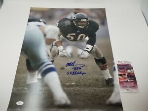 Mike Singletary SIGNED AUTOGRAPHED Chicago Bears Photo 2 Inscriptions JSA Cert