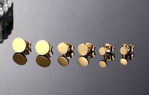 Titan Ohrstecker Runde Gelbgold Titanium Damen Herren Schmuck kleine große Paar