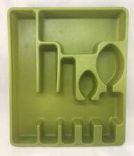"Rubbermaid Solid Green Vintage Retro Silverware Utensil Organizer 13.75x11.75"""