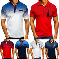 Men's Polo Shirts Tee Tops Short Sleeve Button Summer Slim Sport Golf T Shirts