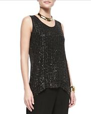 EILEEN FISHER SEQUIN RAINDROP KNIT SHELL SIZE XS - RETAIL $368