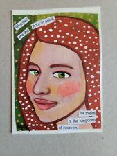 ORIGINAL ACEO Folk Art Bible Scripture Blessed Spirit Heaven Girl Woman Jesus