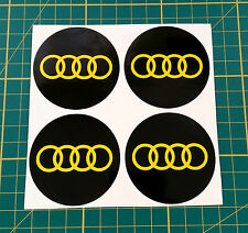4 x 60mm ALLOY WHEEL STICKERS audi logo Yellow on Black centre cap badge
