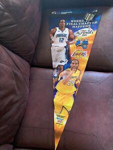"""2009 NBA FINALS Felt PENNANT LAKERS KOBE BRYANT MAGIC DWIGHT HOWARD 17""""x40"""" Huge"""