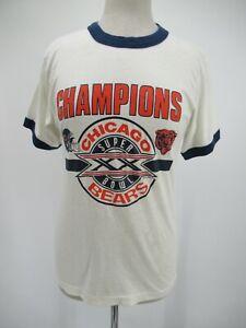 L9687 VTG Chicago Bears 1985 Super Bowl Football Ringer Tee T-Shirt Made USA M