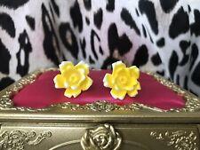 Tarina Tarantino Vintage Floriculture Yellow Rose Flower Stud Earrings