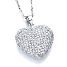 JJAZ 925 STERLING SILVER CZ CRYSTAL HEART PENDANT Women Necklace Valentines gift