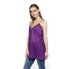 NWT Womens Medium  ** PURPLE **  100% Cotton Tunic w/Floral & Pom Pom Top W-36