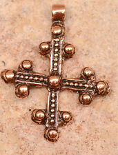 Coptic Ethiopian Cross Pendant in Copper Bronze -113c