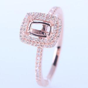 6X4mm Emerald/Cushion Cut Semi Mount Engagement Party Diamond Ring 14K Rose Gold