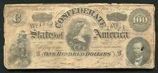 T-65 1864 $100 ONE HUNDRED DOLLARS CSA CONFEDERATE STATES OF AMERICA NOTE (B)