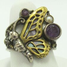 Echo of the Dreamer Sterling & Bronze Amethyst Butterfly Ring size 8
