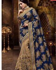 Indian  Navy Blue Art Silk and Golden Body Net party wear saree  Stitch Blouse