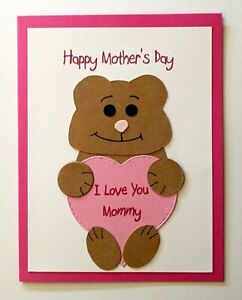 MOTHER'S DAY CARD - TO MOMMY FROM CHILD - PERSONALIZED HEART & INSIDE VERSE