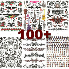 6 Sheets Unisex Black Red Tribute Butterflly Letters Temporary Tattoo Tattoos
