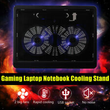 Laptop Notebook CPU Cooler Cooling Pad Stand Gaming USB Adjustable 2 Fans