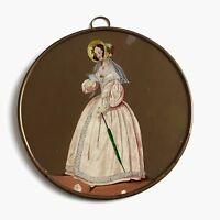 Grand Médaillon Fixé Sous Verre Mode NAPOLEON III XIXè 19 C VICTORIAN Fashion