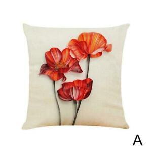 Flower Throw Pillow Case Art Cushion Cover Beige Linen Decorative I3Y2