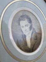 Portrait XIXeme Ancien Homme Napoléon III Gravure Dessin Ovale Rond Bois Doré