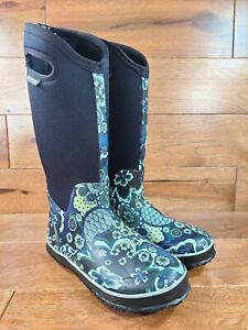 Bogs Woman's Classic Tall Boots Paisley 100% Waterproof Rain Barn Boots Size 7