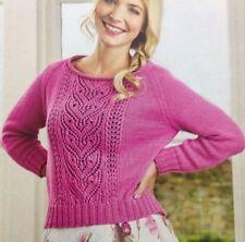 Ladies Lace Panel Jumper/Sweater DK KNITTING PATTERN - Sizes 8-26
