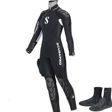 LO3 16 SEMYDRY SUIT SCUBAPRO NOVASCOTIA LADY mm.7,5 AND HOOD size S  + BOOT