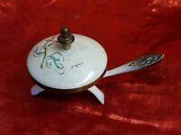 Enamel on Brass Salt Cellar or Incense Burner- Made in Israel -Vintage Lidded