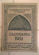 AZIENDA DEI PRESTITI FIRENZE CALENDARIO 1931 FASCISMO MUSSOLINI