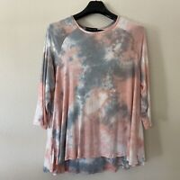 Kim & Cami 1X Top Tie Dye Blouse Tunic 3/4 Sleeve Stretch Soft Pink Blue