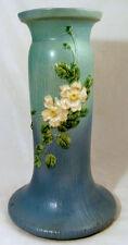 """Blue Roseville """"White Rose"""" Pedestal"""