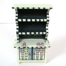 Vtg Artisan Dollhouse HOLLYHOCKS WHIMSICAL CABINET Artist Painted Handpainted