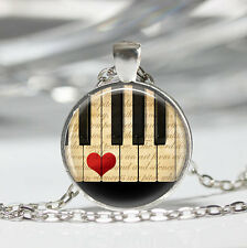 Music Jewelry Piano Necklace Keyboard Musicians Art Pendant in Silver