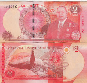 Billet de banque banknote TONGA 2 $ BALEINE whale NEUF UNC NEW