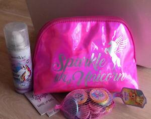 Unicorn 3 Piece Gift Set Hair Glitter Spray/Make Up/Cosmetic Bag Chocolate Coins