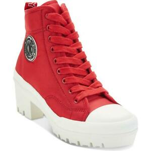 DKNY Womens Pandie Red Canvas Lugged Booties Shoes 8.5 Medium (B,M) BHFO 5409